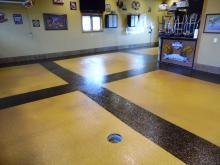 two color chip floor with bronze mica flake